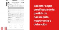 solicitar copia certificada partida de nacimiento matrimonio o defunción