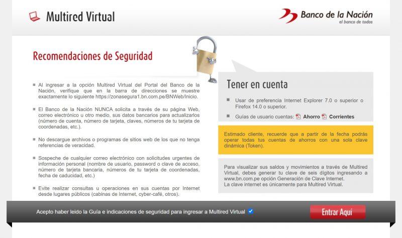 Entrar Aquí para acceder a Multired Virtual y poder consultar tu número de cuenta del Banco de la Nación