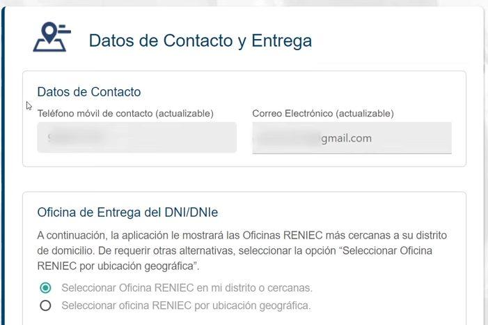 Datos de contacto y entrega para el duplicado DNIe