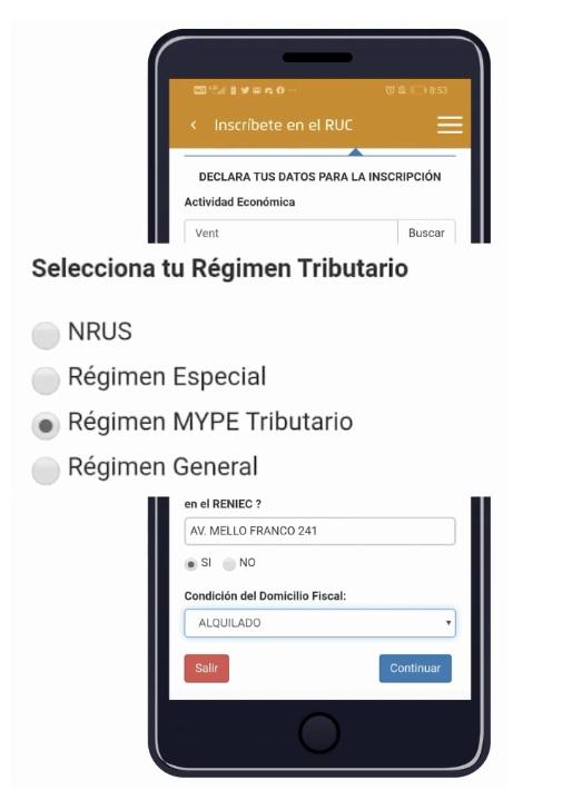 Elección del Régimen Tributario desde la App Personas Sunat