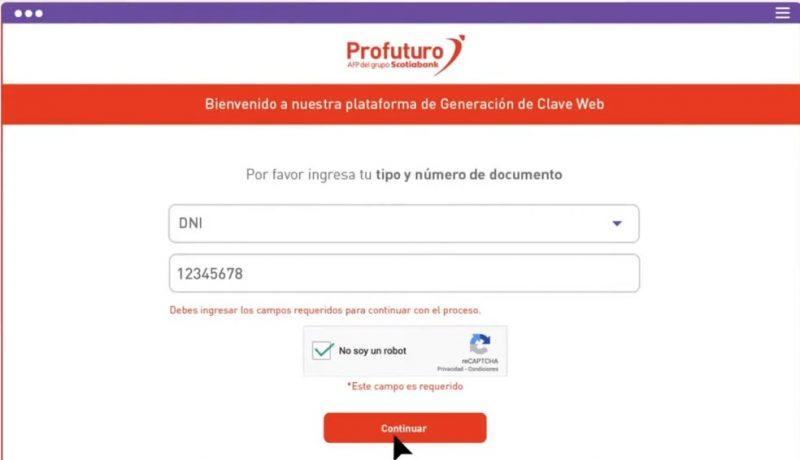 """Introduce tu DNI, verifica el Captcha y presiona """"Continuar"""" para generar clave web Profuturo"""