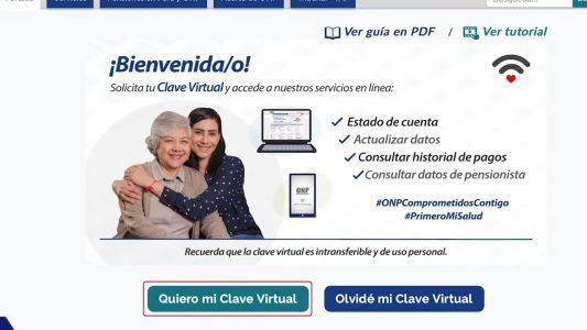 """Hacer clic en """"Quiero mi clave Virtual"""""""
