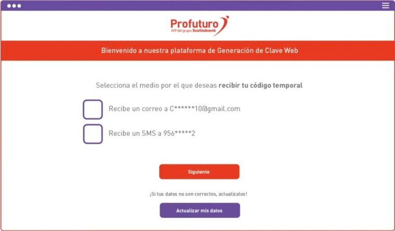 Plataforma para generación de clave web Profuturo