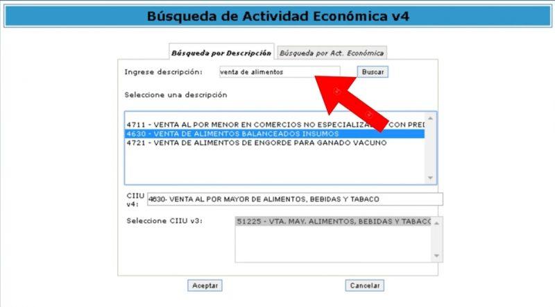 Busca el código de la actividad económica utilizando la descripción