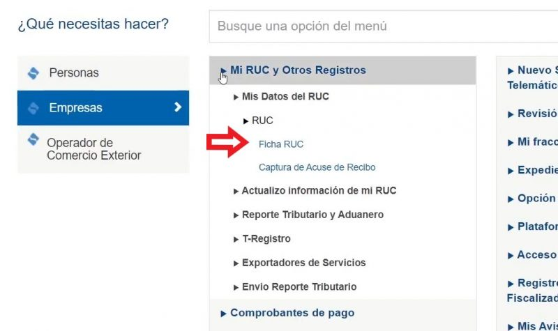 Navega haciendo clic a través de las siguientes opciones: Mi RUC y Otros Registros > Mis Datos del RUC > RUC > Ficha RUC. Aquí puedes ver todos los datos de tu Ficha RUC.