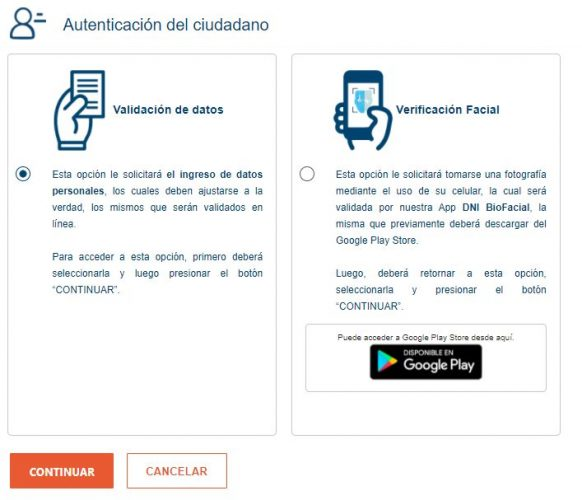 Opciones de autenticación para el usuario al tramitar duplicado de DNI electrónico