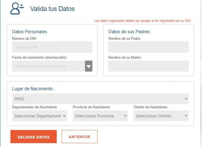 Formulario para la validación del usuario