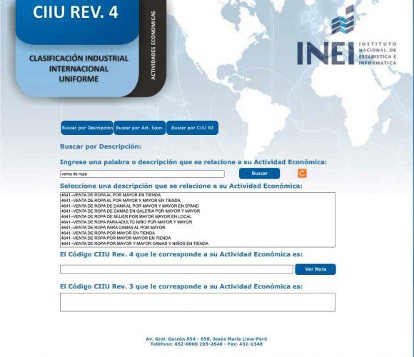 Verificar actividad económica en INEI